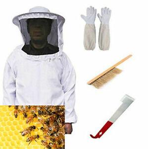 Tuta protettiva apicoltore completa con cappello rotondo velo +Guanti,Brush,Hook