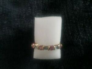 9ct gold pink sapphire & blue topaz ring approx Q purchased from QVC