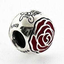 Authentic Pandora 925 Silver Charm Disney Belle's Enchanted Rose 791575EN09