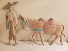 Cast Metal Mexican Man Sombrero Donkey Burro Mule Southwest Wall Art Wall Decor