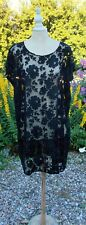 FRENCH VINTAGE 1920s HAND BEADED TULLE APPLIQUE FLAPPER DRESS GOOD SIZE