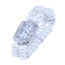 Metall Zuchtperle Strass Armbanduhr Uhr Armkette viereckig Damenuhr TOP
