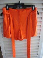 Anthropologie C Luce Womens Orange neon Shorts  Scalloped Hem Pleated Sz NWOT