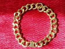 Gold Curb Chunky Chain Bracelet Mens Women Dress Gift Fashion Jewellery - 21cm