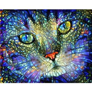 5D Full Drill Diamond Painting Embroidery Cross Stitch Kits Abstract Cat DIY UK