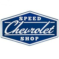 "CHEVROLET SPEED SHOP EMBOSSED METAL SIGN  26"" W X 16"" T   XXL"