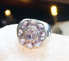 Extrem Massiv Silberring 53 Handarbeit Amethyst Breit Lila Ring Silber Schlicht