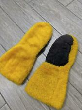 vintage Snowmobile mittens Shaggy furry Leather Palms yamaha skidoo arctic cat