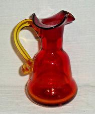 "Amberina Glass Pitcher Small 4.5"" Ruby Red Orange Blenko Creamer Hand Blown"