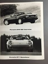 1989 Porsche 944 S2 Cabrio & 911 Speedster B&W Press Photo PCNA Issued RARE L@@K