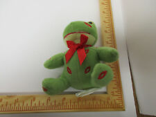 Adorable Green Frog with Red Kisses All Over, Tagged, Yellow Hatted, Cute Frog