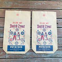 "lot of 2 Vtg Dutch Treat Food Supply Paper Potato Bags USA  Kraft 2 25"" x 15"""