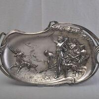 WMF Jugendstil Schale / Tablett, Jagdgesellschaft der Diana, 41cm, Art Nouveau