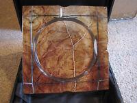 Tobacco Leaf Crystal Ashtray - 4 Cigar Rests - Heavy - Clear Acrylic - New