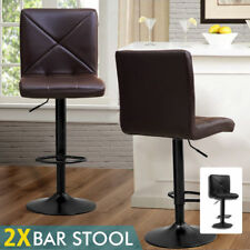 2x PU Leather Adjustable Swivel Barstool Hydraulic Chair Modern Bar Stools Brown