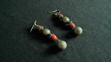 Antique silver and ancient corals earrings 1880-1890 Samarkand