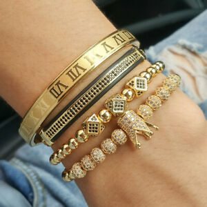 Luxury Men Gold CZ Balls Crown Charm Bracelet Stainless Steel Roman Cuff Bangle
