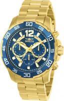 Invicta 22714 Men's Chrono Blue Dial Yellow Gold Bracelet Watch