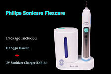 Philips Sonicare Flexcare Toothbrush HX6950 Handle +UV Sanitizer Charger HX6160