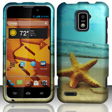 For Boost Mobile Warp 4G ZTE N9510 Rubberized Hard Case Phone Cover Star Fish