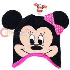 Disney Minnie Mouse Big Face Beanie Hat with 3D Ear : Pink Bow