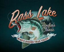 "BASS LAKE Men's XXL T Shirt FISHING Angler's Classic ""Mine's Bigger Than Yours"""