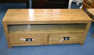 New Solid Oak timber  2 Drawer Low line Entertainment TV Unit Cabinet ETU 1.4M