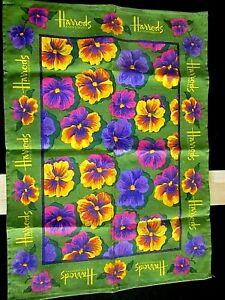 VINTAGE UNUSED Harrods Knightsbridge Irish linen Tea Towel PANSY DESIGN