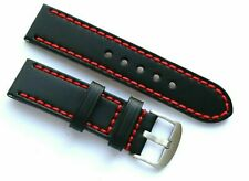 24mm Replacement Black Leather Red Stitching Watch Band - U-Boat 24 or Big Watch