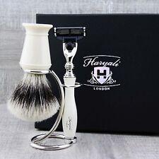 Silver Tip Hair Shaving Brush & Triple Edge Razor Mens Luxury 3 Piece Gift Set