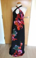 Ladies MAEVE Dress Long Maxi Size M 12 14 Black Red Floral Smart Evening Party