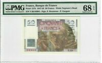 France 50 Francs Banknote 1947 Pick#127b PMG Superb GEM UNC 68 EPQ - Vintage