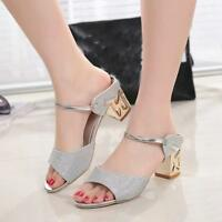 Womens Hot Summer Sandals Open Toe Fish Mouth Mid High Heel Diamond Casual Shoes