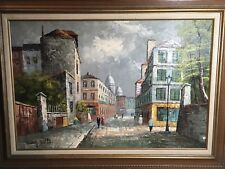 Original Oil Painting Mary Botto Parisian Paris Street Scene - Signed   Rare