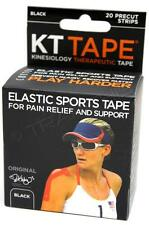 KT Tape Therapeutic Elastic Body Sports Tape Roll of 20 Strips - Cotton -  BLACK