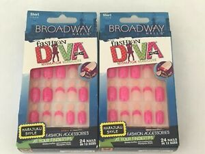 (2) KISS BROADWAY FASHION DIVA GLUE ON NAILS MISMATCH HOT PINK SPARKLE  54033