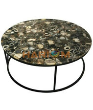 """3'x3' Black Agate Stone Top Dining Table With 18"""" Stand Living Room Decors A087A"""