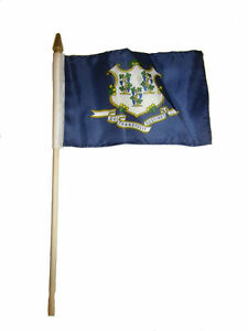 """Wholesale Lot of 3 6x9 6""""x9"""" State of Connecticut Stick Flag wood Staff"""