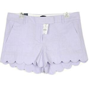 NEW NWT $50 J. Crew Linen Cotton Purple Lavender Shy Scalloped Shorts Size 10