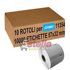 10 x ROTOLI ETICHETTE ADESIVE DYMO 11354 32x57mm S0722540 LABELWRITER 400 450