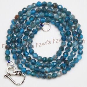 Genuine 3mm Faceted Natural Blue Apatite Round Gemstone Beads Necklace 16-30''