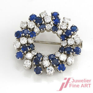 Brooch Wreath From Diamonds Approx. 1,2 CT + Sapphires 2,4 - 750/18K White Gold