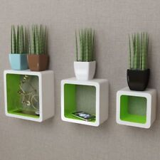 White and Green MDF Cubes Floating Shelf Set 3pcs Wall Display Storage Square