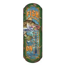Fishing Tin Signs Thermometer Indoor Outdoor Bait & Tackle Decor FISH ON!!!!
