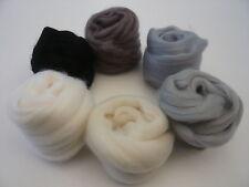 Heidifeathers laine feutrage-laine mérinos Tops 6 nuances de galets-laine feutrage