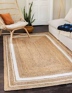 indian braided natural jute floor rug with white color boundary living room rugs