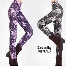 BLACK GALAXY TIGHTS AU WOMENS NEW