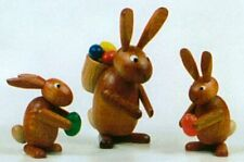 Erzgebirge Miniature Wood Easter Bunny Rabbit Family Handcrafted in Germany New