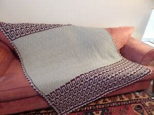 Hand crocheted afghan with texture stitch in gray and burgundy