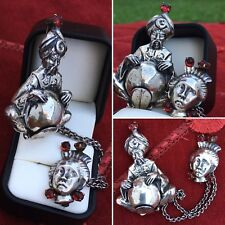 ANTIQUE UNIQUE RARE WHIMSICAL STERLING SILVER GENIE BROOCH CHAINED SAD WOMAN